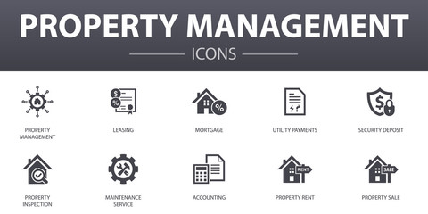property management simple concept icons set. Contains such icons as leasing, mortgage, security deposit, accounting and more, can be used for web, logo, UI/UX