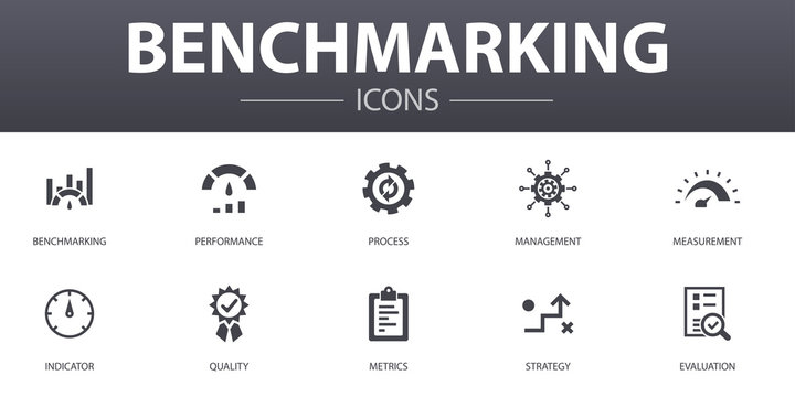 benchmarking simple concept icons set. Contains such icons as performance, process, management, indicator and more, can be used for web, logo, UI/UX