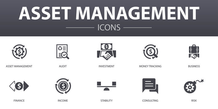 asset management simple concept icons set. Contains such icons as audit, investment, business, stability and more, can be used for web, logo, UI/UX