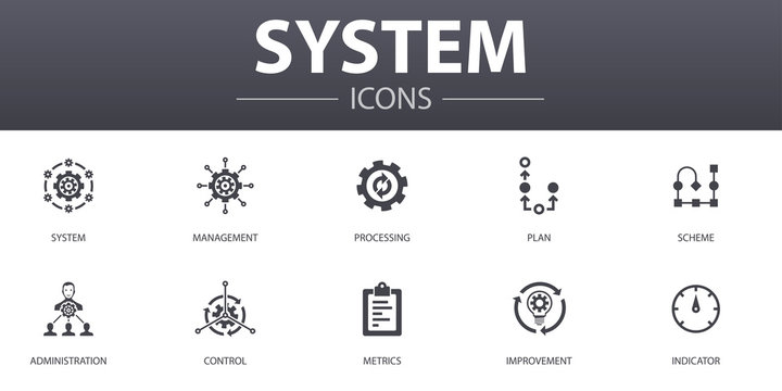 system simple concept icons set. Contains such icons as management, processing, plan, scheme and more, can be used for web, logo, UI/UX