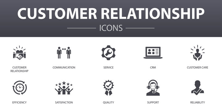 customer relationship simple concept icons set. Contains such icons as communication, service, CRM, customer care and more, can be used for web, logo, UI/UX