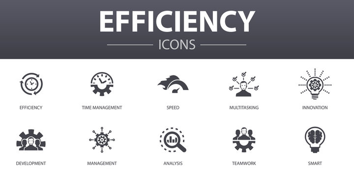 efficiency simple concept icons set. Contains such icons as time management, speed, multitasking, teamwork and more, can be used for web, logo, UI/UX