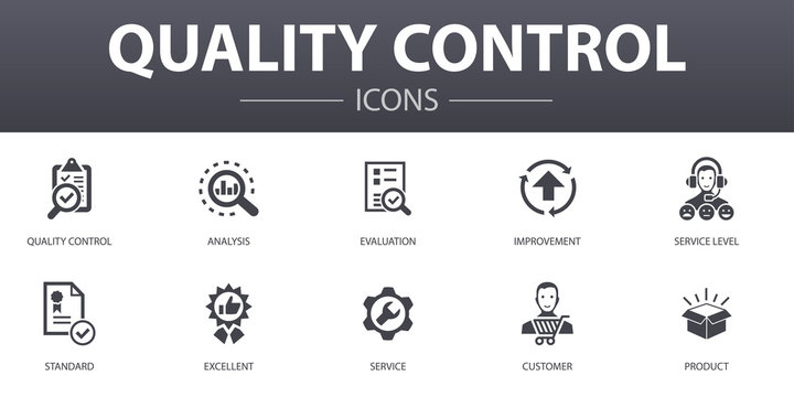 quality control simple concept icons set. Contains such icons as analysis, improvement, service level, excellent and more, can be used for web, logo, UI/UX