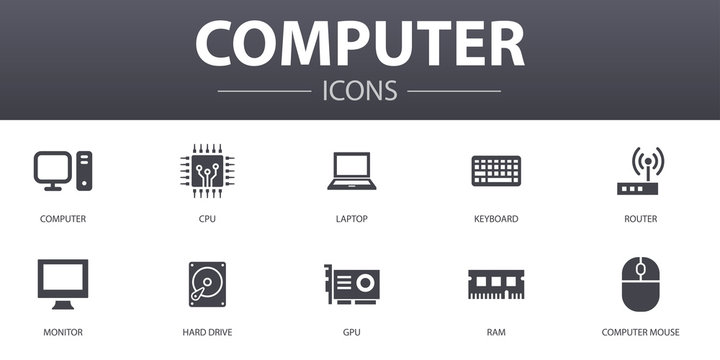 Computer simple concept icons set. Contains such icons as CPU, Laptop, Keyboard, hard drive and more, can be used for web, logo, UI/UX