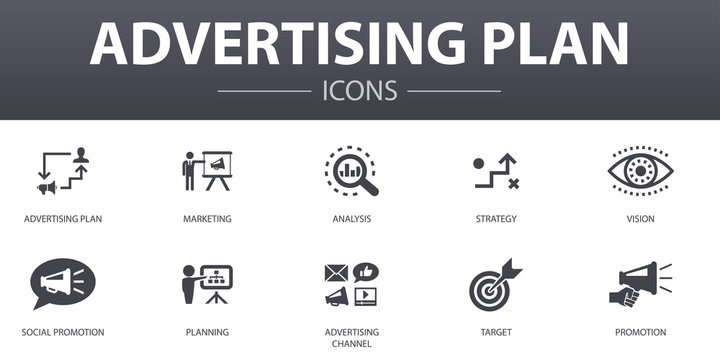 Advertising Plan simple concept icons set. Contains such icons as marketing, strategy, planning, target and more, can be used for web, logo, UI/UX