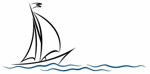 Fototapeta A symbol of the blue sailing vessel with a wave. obraz
