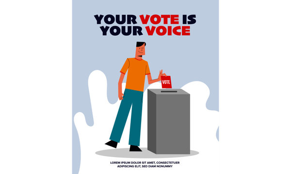 Vector Illustration of a Man putting his vote into ballot box. Democracy Freedom Concept. Voting for Election. Voter Putting Ballot Into Voting box. Your Vote is your Voice Poster