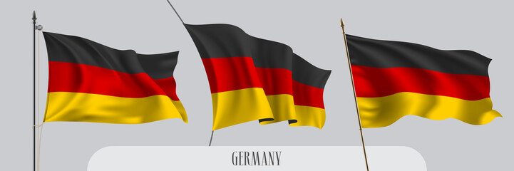 Set of Germany waving flag on isolated background vector illustration Fotomurales