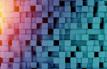 Glowing black blue and orange squares background pattern 3D rendering