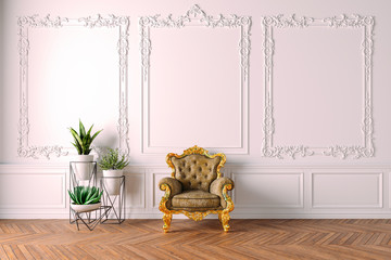 3d beautiful clean vintage interior with armchair