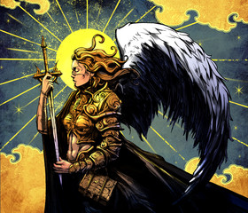 Beautiful angel girl in armor and with sword against the yellow sun with Golden clouds