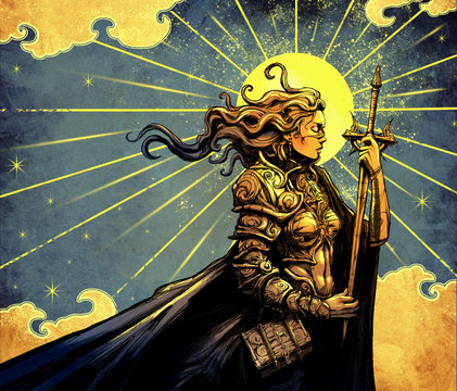 Beautiful girl in armor and with a sword against the yellow sun with Golden clouds