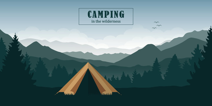 camping adventure in the wilderness tent in the forest at green mountain landscape vector illustration EPS10