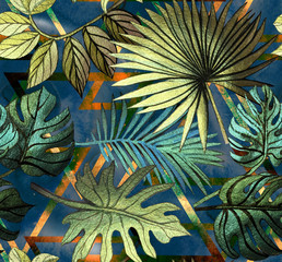 Stores à enrouleur Botanique Seamless pattern with tropical leaves and geometric shapes. Tropical background.