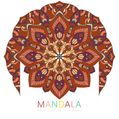 2bc90fee40819 Vector round abstract circle. Mandala style. Decorative element, colored  circular design element.