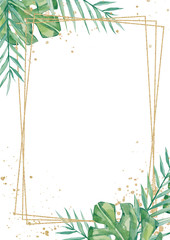 Watercolor tropical floral wedding cards, frame, template. Summer leaves and branches for invitation greeting cards, postcards