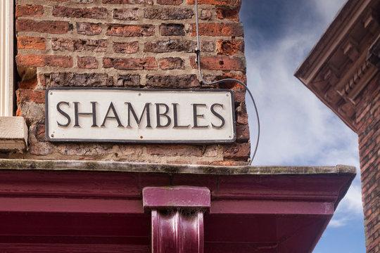 Shambles street sign, York, North Yorkshire, England, UK