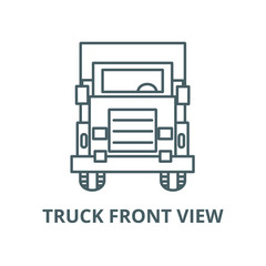 Truck front view vector line icon, outline concept, linear sign