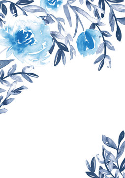 Watercolor floral frame in blue and indigo. Hand-painted stationery card template.