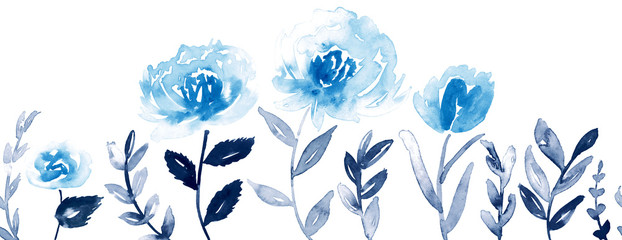 Seamless watercolor floral border in shades of blue and indigo.