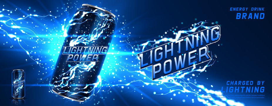 Energy drink ads banner template. Vector illustration with energy drink can, bright lightnings and shining thunderstorms. Realistic 3d illustration.