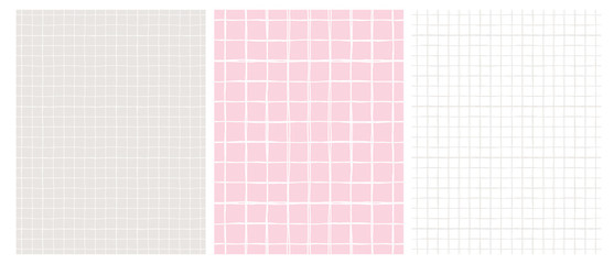 Obraz Simple Geometric Vector Pattern with Light Gray Grid on a White Background and  White Grid on a Pink and Gray. Abstract Notepad Paper with Irregular Hand Drawn Blank. Funny Pastel Color Graph Paper. - fototapety do salonu
