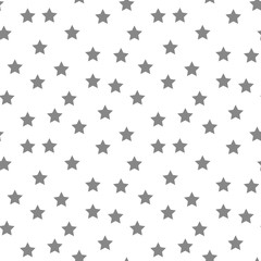 Star seamless pattern. White and black retro background. Chaotic elements. Abstract geometric shape texture. Effect of sky. Design template for wallpaper,wrapping, textile. Vector Illustration