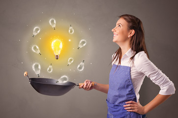 Smiling person cooking new idea concept