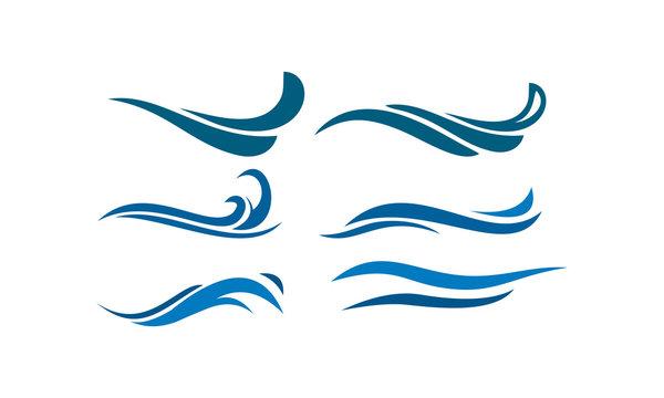 logo set template water wave