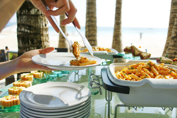 lunch buffet in restaurant