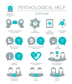 Psychological help. Set of silhouette icons symbols for psychology counseling, consulting, psychotherapy. Color block. Flat design. Vector