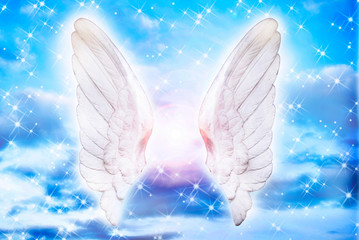 Wall Mural - white angel wings with stars and light over blue sky