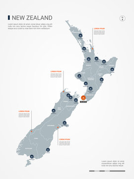 New Zealand map with borders, cities, capital and administrative divisions. Infographic vector map. Editable layers clearly labeled.
