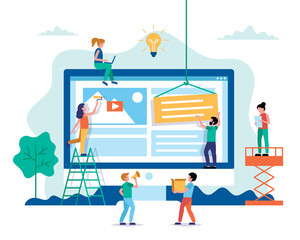 Website design - building a website, working on layout. Small people characters doing various tasks. Concept vector illustration in flat style