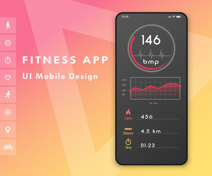 Fitness cardio app. Heart rate monitor. UI design concept with web elements. Vector illustration.