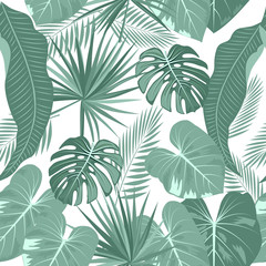 Tropical neon vector seamless pattern.