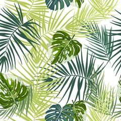 Foto op Canvas Tropische Bladeren Tropical vector seamless pattern