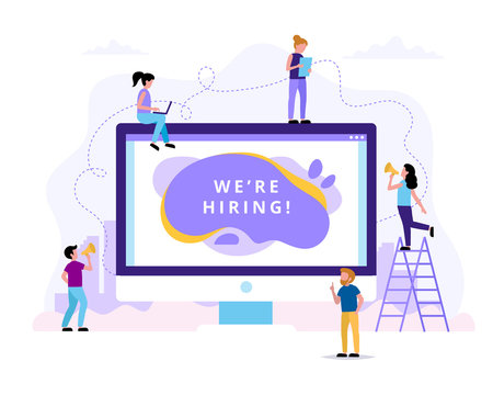 We're hiring. Concept illustrations for human resources, hiring process, vacancies, recruitment department. Vector illustration in flat style with small  people doing various tasks