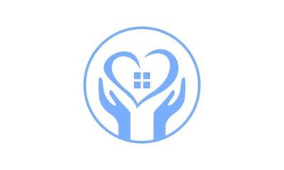 Hand real estate logo design vector