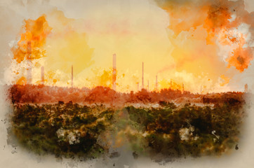 Foto op Canvas Meloen Watercolour painting of Industrial chimney stacks in natural landscape polluting the air with deep orange glow for effect at sunrise