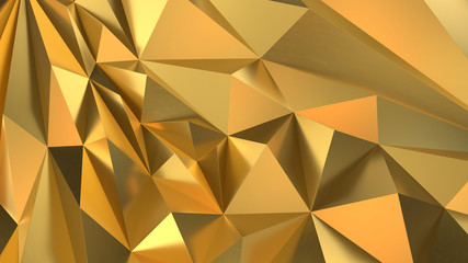 Gold Low poly triangle, trigon, triangular  background. abstract golden geometric crystals. Minimal quartz, stone, gems.