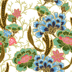vintage seamless pattern gold outline with exotic traditional floral pattern watercolor gouache