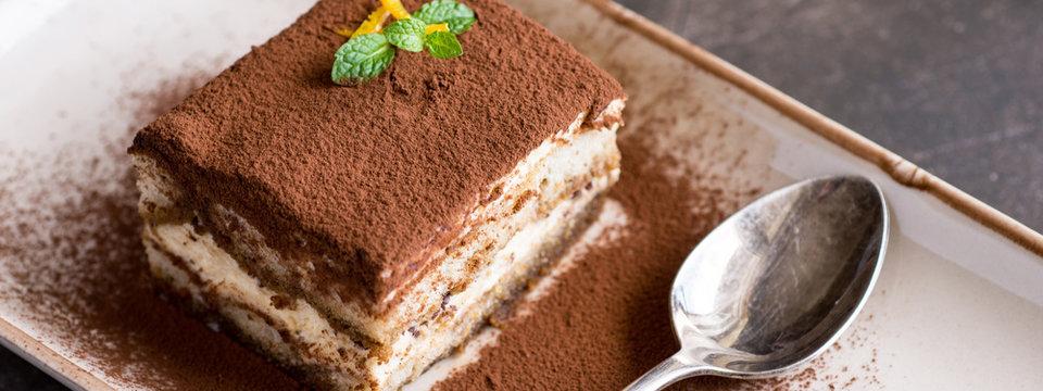 Tiramisu Cake Homemade Dessert with Mascarpone Cheese and Espresso Coffee