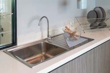 sink with faucet in kitchen room