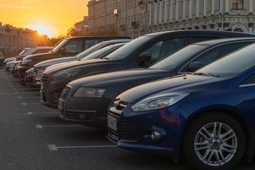 Saint Petersburg, Russia,  2018-10-15 : outdoor parking lot