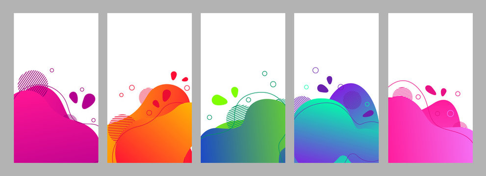 Color abstract fluid social media background set
