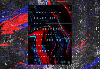 Futuristic Poster Layout with Bright Colorful Liquid Elements