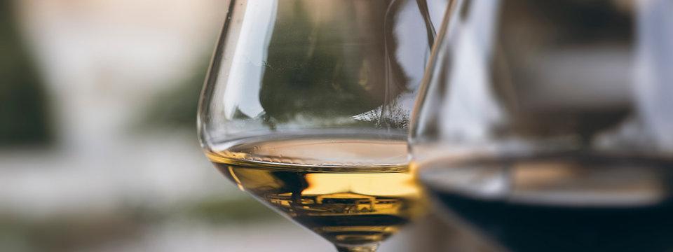 Glass of Chardonnay White Wine Close Up
