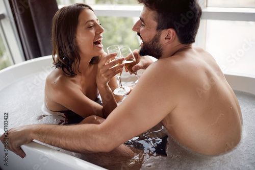 Romantic Moments In The Bathroom Young Couple Have Fun In