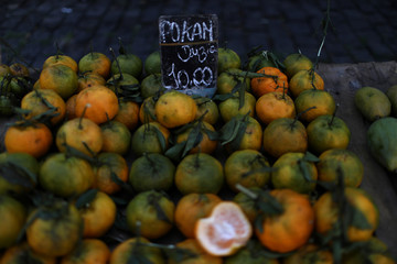 Fruits are displayed for sale at a street market in Rio de Janeiro